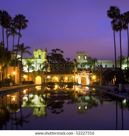 Balboa Park buldings at night, reflections, san Diego - stock photo