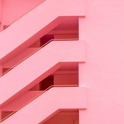 Balconies. Geometry. Fashion minimal pink mood