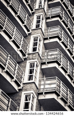 Balconies in a modern apartment building in monochrome