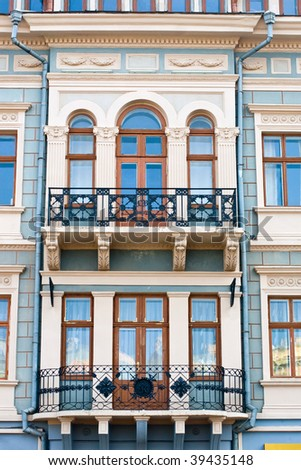 Balconies in an old building of the city of Chernivtsi. Ukraine