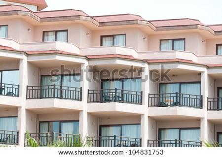 Balconies in hotel.