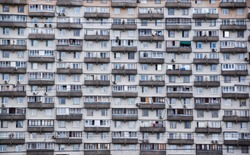 Balconies on a soviet era building in Moscow