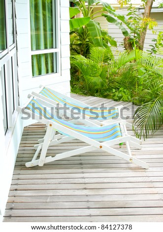 balcony and canvas - stock photo