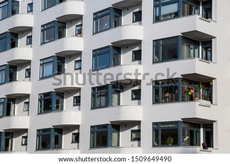 Balcony exteriors and windows of Oslo apartment building #1509649490