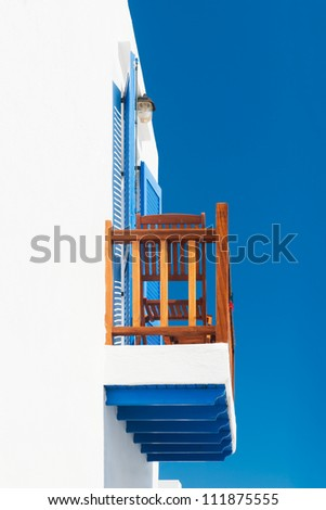 Balcony from a house on a Greek Cycladic island