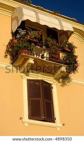 Balcony On An Italian Apartment Building,