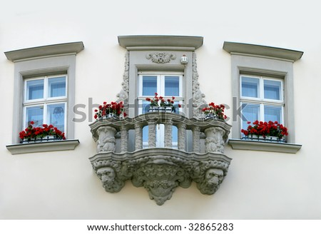 Balcony on the old house in Lvov