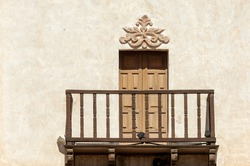 Balcony on the tower of Mission San Xavier del Bac (famous White Dove of the Desert) in Tohono O'odham Indian Reservation, Arizona, USA