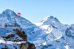Balcony overlooking the Swiss Alps