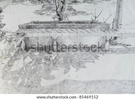 Balcony pen drawing on paper