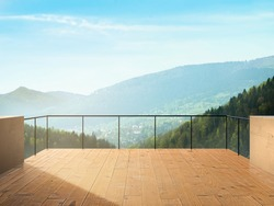 Balcony View Of Town and Forest In Mountains Landscape During Sunny Day