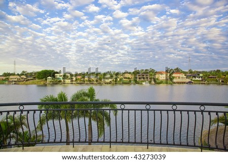 Balcony views from waterfront Mansion overlooking the canal