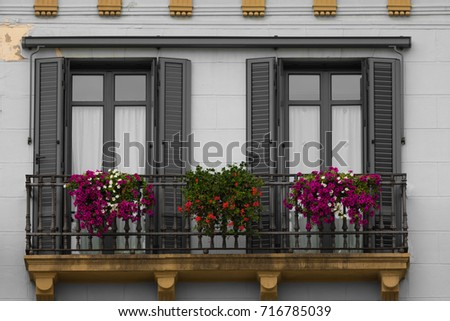 balcony with flowers #716785039