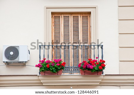 balcony with pots