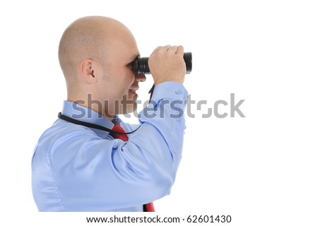 bald businessman looking  through binoculars. Isolated on white background