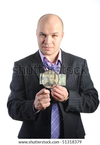 Bald businessman with notes and a magnifying glass. Isolated on white background