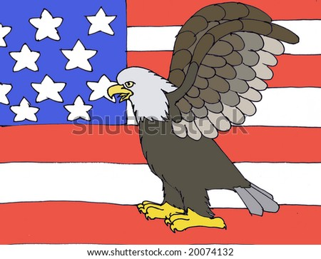 Bald eagle in the American flag