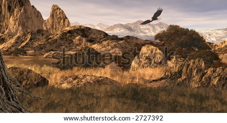 Bald Eagle / 12x24 painting of a bald eagle soaring in the Colorado Rockies / SW-015