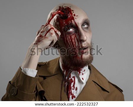 bald man with a broken head, a bloody man with a beard and mustache, a bloody man with a brown coat and a white shirt, a bloody knife, a bald man, a head injury, bloody theme, halloween theme, killer