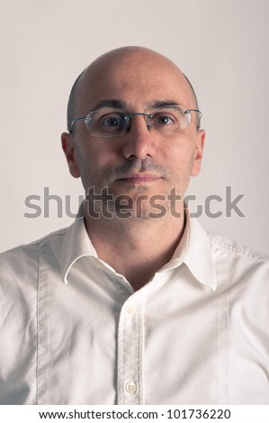 Bald Man With Glasses Portrait. Stock Photo 101736220 ...