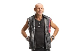 Bald punk in leather clothes standing and smiling isolated on white background