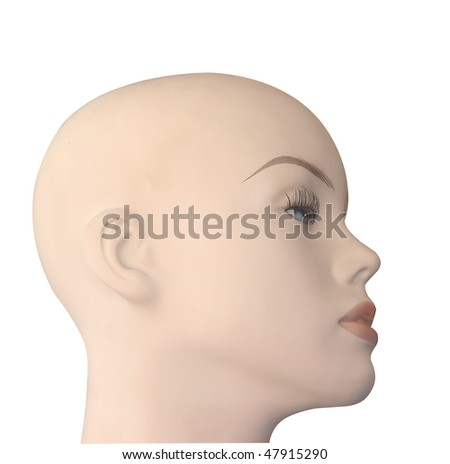 Bald Shop Mannequin Head isolated with clipping path