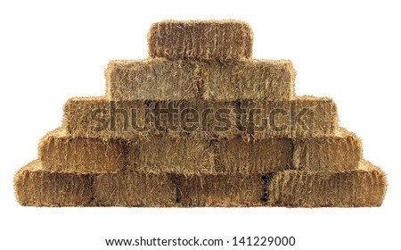 Bale of hay group in a pyramid wall pattern isolated on a white background as a country  design element and agriculture farm and farming icon of harvest time with straw as bundled tied haystacks. #141229000