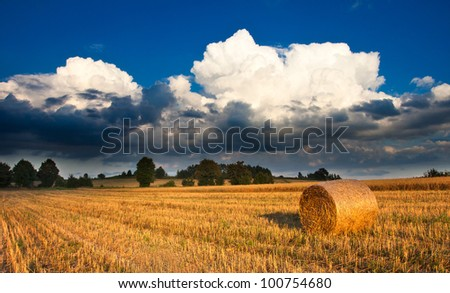 Bale of straw and thundercloud