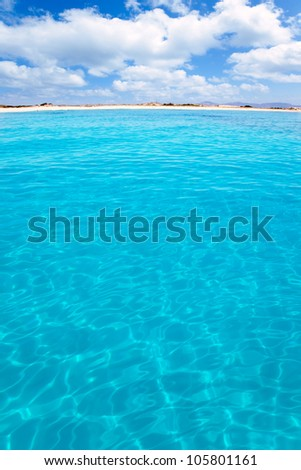Balearic Formentera island Llevant beach de Levante view from sea