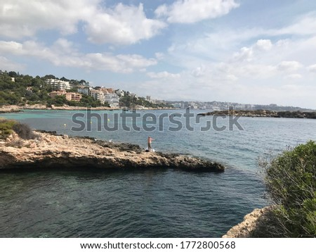 Balearic islands . Spain. 06-25-2020. This is the Cala Comtessa beach with limited capacity due to the coronavirus pandemic.