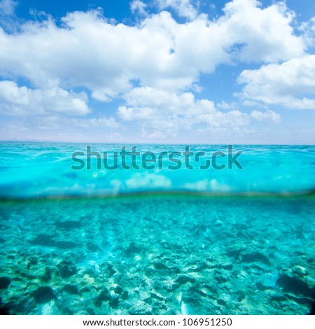 Balearic islands turquoise sea under over in out waterline tropical beach #106951250