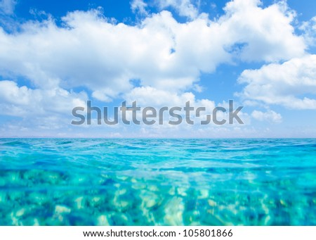 Balearic islands turquoise sea under summer blue sky in tropical beach