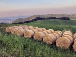 bales of hay in field close-up on sunset across mountains landscape. Agricultural industry concept. Province landscape