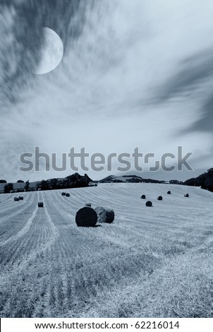 bales of hay on the hill
