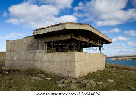 Balfour Battery at Hoxa Head, Orkney, Scotland. Naval defences originally built in World War 1 and later upgraded for World War 2 to protect the British Fleet in Scapa Flow.