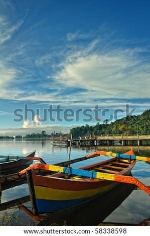 Bali Bratan Lake and colorful boats