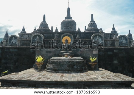 Bali budhist temple Brahma Vihara-Arama Banjar panorama close to Lovina, Indonesia, small version of Borobudur temple on Java Stok fotoğraf ©