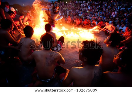 BALI DECEMBER 30 traditional Balinese Kecak and Fire dance at Uluwatu Temple on dec 30 2012 Bali Indonesia