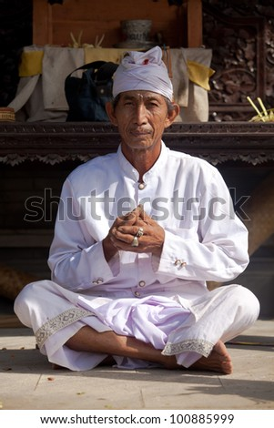 bali february 1 hindu priest praying in local temple