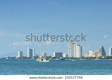 Bali Hai Pattaya Beach with City Scape, Thailand