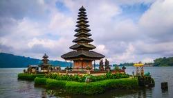 Bali hindu temple on lake