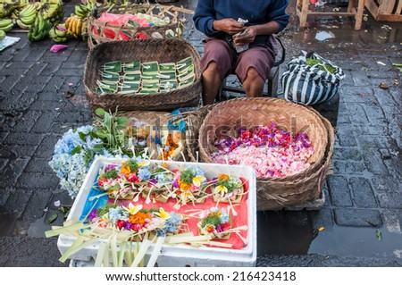 Bali, Indonesia, April 22,2010 :Commercial activities sell fruit ,flowers,sweet ,etc at Ubud market  in Ubud, Bali, Indonesia. Ubud Market is very famous among Balinese, located in center of Ubud.