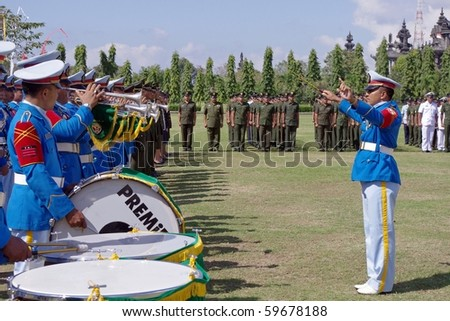 BALI, INDONESIA - AUGUST 17: Military band playing as part of Indonesian Independence day celebrations, August 17, 2010, Renon Park, Denpasar, Bali, Indonesia. - stock photo