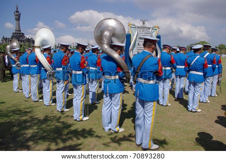 BALI, INDONESIA - AUGUST 17: Military band playing for Indonesian Independence day celebrations on August 17, 2010, in Renon Park, Denpasar, Bali. Independence day is the biggest event of the year.