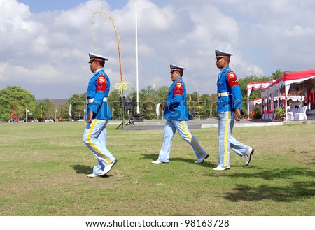 BALI, INDONESIA - AUGUST 17: Unidentified Army soldiers attending Indonesian Independence day celebrations on August 17, 2010 in Renon Park, Denpasar, Bali. Independence day is the biggest event of the year.