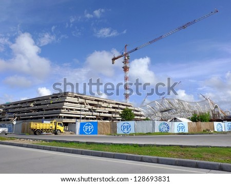 BALI, INDONESIA - JAN 29: Construction of new airport, January 29, 2013, Bali, Indonesia. This $211 million airport will replace the existing airport, increasing capacity to 25 million passengers P/A.