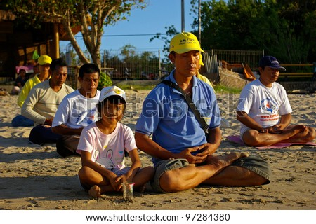 BALI, INDONESIA - JANUARY 22: Falun Gong students, also known as Falun Dafa on January 22, 2008 in Bali. This meditation was banned in China in 1999 but is practiced in 70 other countries.