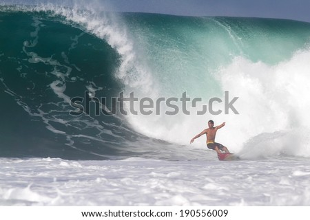 Bali, Indonesia - June 9. 2013: Brazilian pro surfer Gabriel Medina training at Keramas surf area.BALI.Indonesia.06.09.2013.