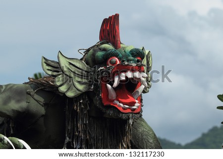 BALI, INDONESIA - MARCH 11: Balinese statue Ogoh-Ogoh ready for Ngrupuk parad on March 11, 2013 in Pemuteran; Bali. Statues Ogoh-Ogoh made for vanquish  negative spirits during  Balinese New Year