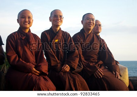 BALI, INDONESIA - NOVEMBER 17: Buddhist monks from Vietnam on November 17, 2009, Bali, Indonesia. There are 190 million Buddhists in Southeast Asia, making it the second largest religion in the region